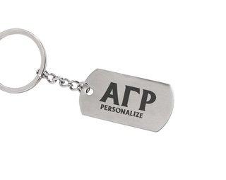 Alpha Gamma Rho Dog Tag Style Custom Keychain