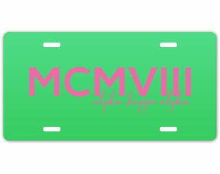 Alpha Kappa Alpha MCMVIII License Plate