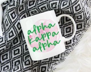Alpha Kappa Alpha Watercolor Rose Coffee Mug