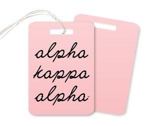 Alpha Kappa Alpha Stacked Script Luggage Tag