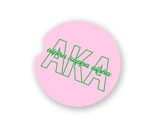 Alpha Kappa Alpha Letters Script Car Cup Holder Coaster
