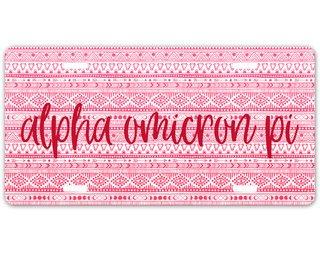 Alpha Omicron Pi Aztec License Plate