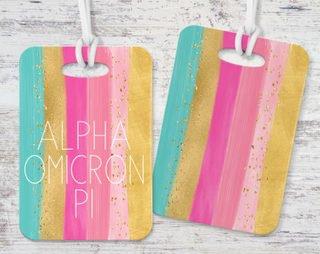 Alpha Omicron Pi Bright Stripes Luggage Tag