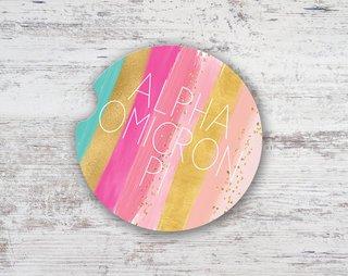 Alpha Omicron Pi Bright Stripes Sandstone Car Cup Holder Coaster