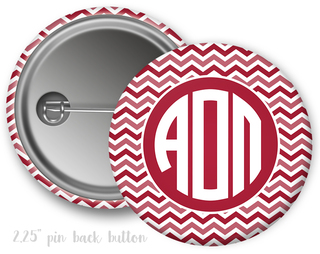 Alpha Omicron Pi Chevron Monogram Button