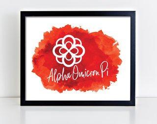 Alpha Omicron Pi Watercolor Print