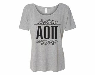 Alpha Omicron Pi Floral Letters Flowy Tee