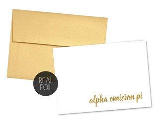 Alpha Omicron Pi Foil Script Notecards(6)