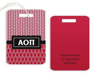 Alpha Omicron Pi Geometric Luggage Tag