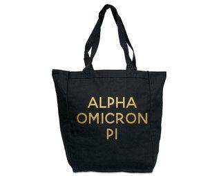 Alpha Omicron Pi Gold Foil Tote bag
