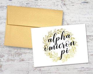 Alpha Omicron Pi Gold Wreath Notecards(6)
