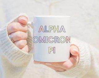 Alpha Omicron Pi Pastel Letter Coffee Mug