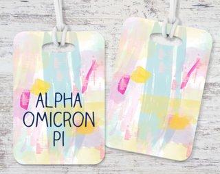Alpha Omicron Pi Watercolor Luggage Tag