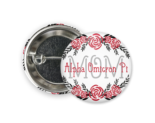 Alpha Omicron Pi Mom Floral Button