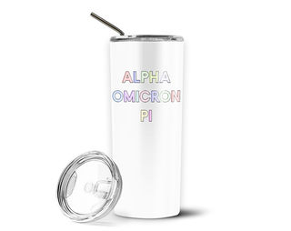 Alpha Omicron Pi Pastel Letters Outline Stainless Tumbler