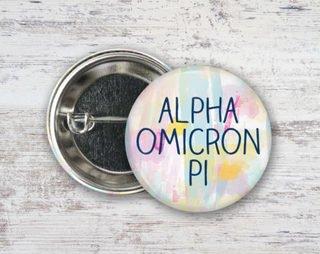 Alpha Omicron Pi Pastel Strokes Button