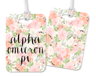 Alpha Omicron Pi Personalized Pink Floral Luggage Tag