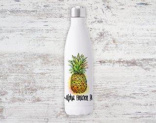 Alpha Omicron Pi Pineapple Steel Water Bottle