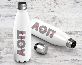 Alpha Omicron Pi Script Letters Stainless Steel Water Bottle