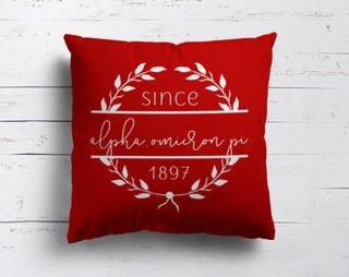 Alpha Omicron Pi Since Established Pillow