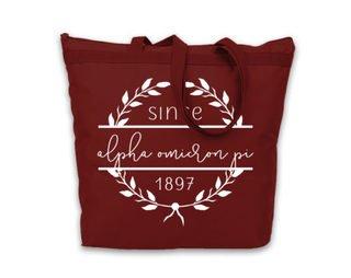 Alpha Omicron Pi Since Established Tote bag