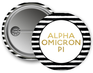 Alpha Omicron Pi Striped Button