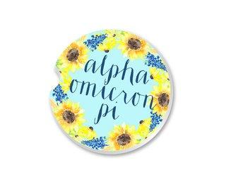 Alpha Omicron Pi Sunflower Car Coaster