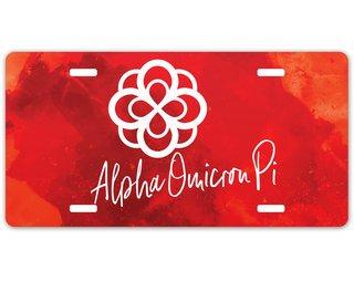 Alpha Omicron Pi Watercolor Script License Plate