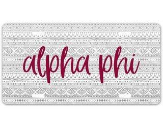 Alpha Phi Aztec License Plate