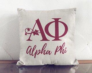 Alpha Phi Logo Linen Pillow