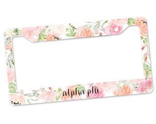 Alpha Phi Floral License Plate Frame
