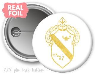 Alpha Phi Foil Crest - Shield Button