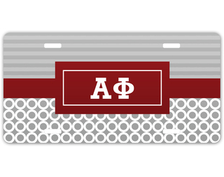 Alpha Phi Geometric License Plate