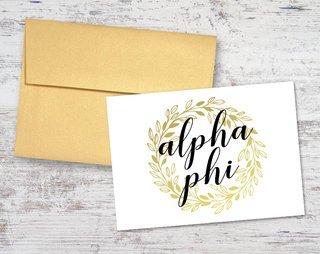 Alpha Phi Gold Wreath Notecards(6)