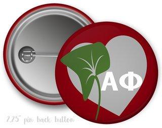 Alpha Phi Heart Mascot Button