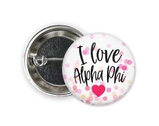 Alpha Phi I Love Heart Bursting Button
