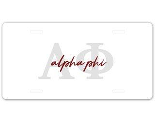 Alpha Phi Letter Script License Plate