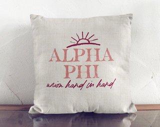 Alpha Phi Linen Sun Pillow