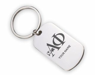 Alpha Phi Script Stainless Tassel Keychain