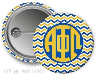 Alpha Phi Omega Chevron Monogram Button