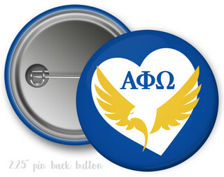Alpha Phi Omega Heart Mascot Button