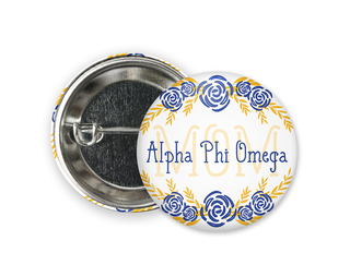 Alpha Phi Omega Mom Floral Button