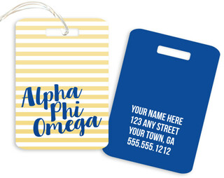 Alpha Phi Omega Personalized Striped Luggage Tag