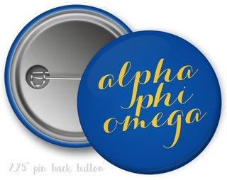 Alpha Phi Omega Script Button