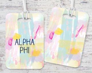 Alpha Phi Pastel Strokes Luggage Tag