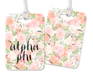 Alpha Phi Personalized Pink Floral Luggage Tag