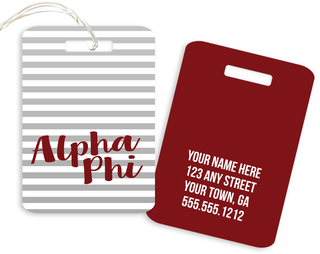 Alpha Phi Personalized Striped Luggage Tag