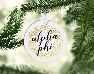 Alpha Phi Round Acrylic Gold Wreath Ornament