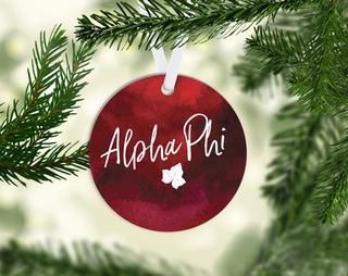 Alpha Phi Round Acrylic Watercolor Ornament