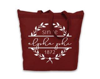 Alpha Phi Since Established Tote bag